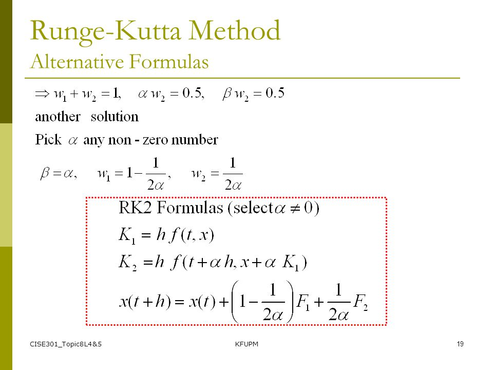 Runge-Kutta Method Alternative Formulas