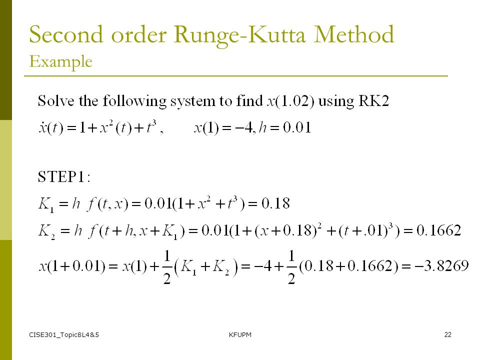 Second order Runge-Kutta Method Example