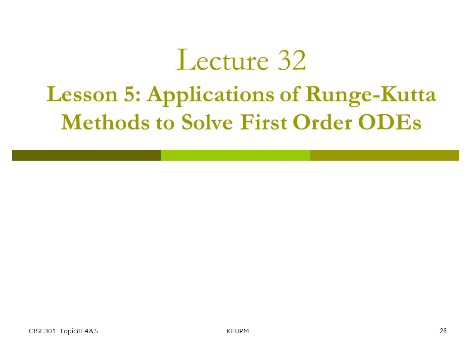 Lecture 32 Lesson 5: Applications of Runge-Kutta Methods to Solve First Order ODEs