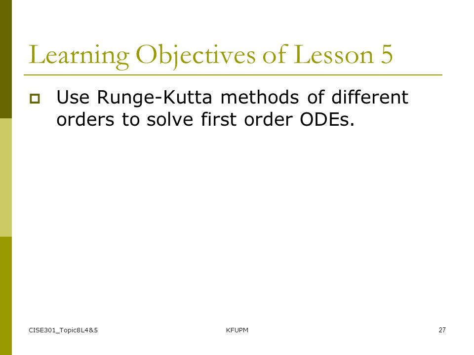 Learning Objectives of Lesson 5
