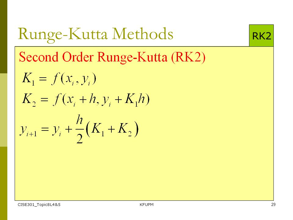 Runge-Kutta Methods RK2 CISE301_Topic8L4&5 KFUPM