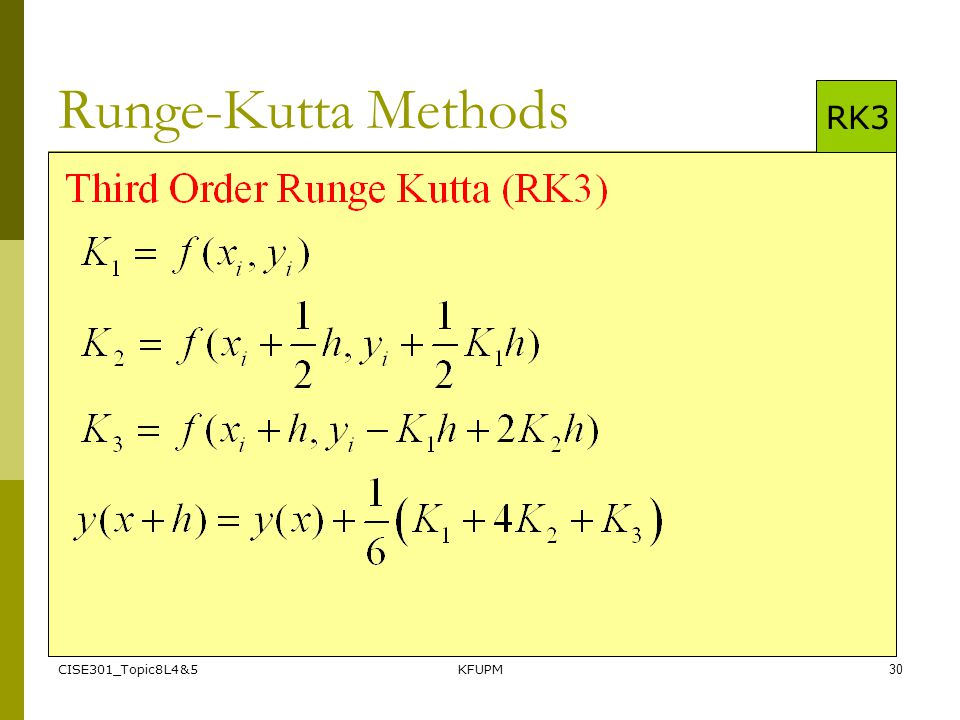 Runge-Kutta Methods RK3 CISE301_Topic8L4&5 KFUPM