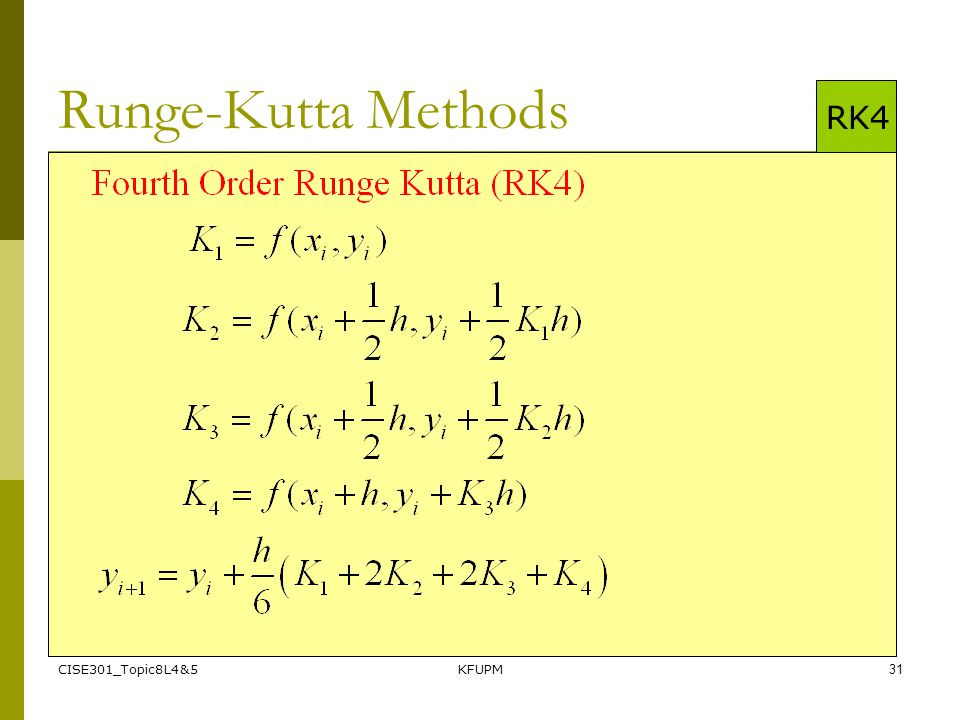 Runge-Kutta Methods RK4 CISE301_Topic8L4&5 KFUPM