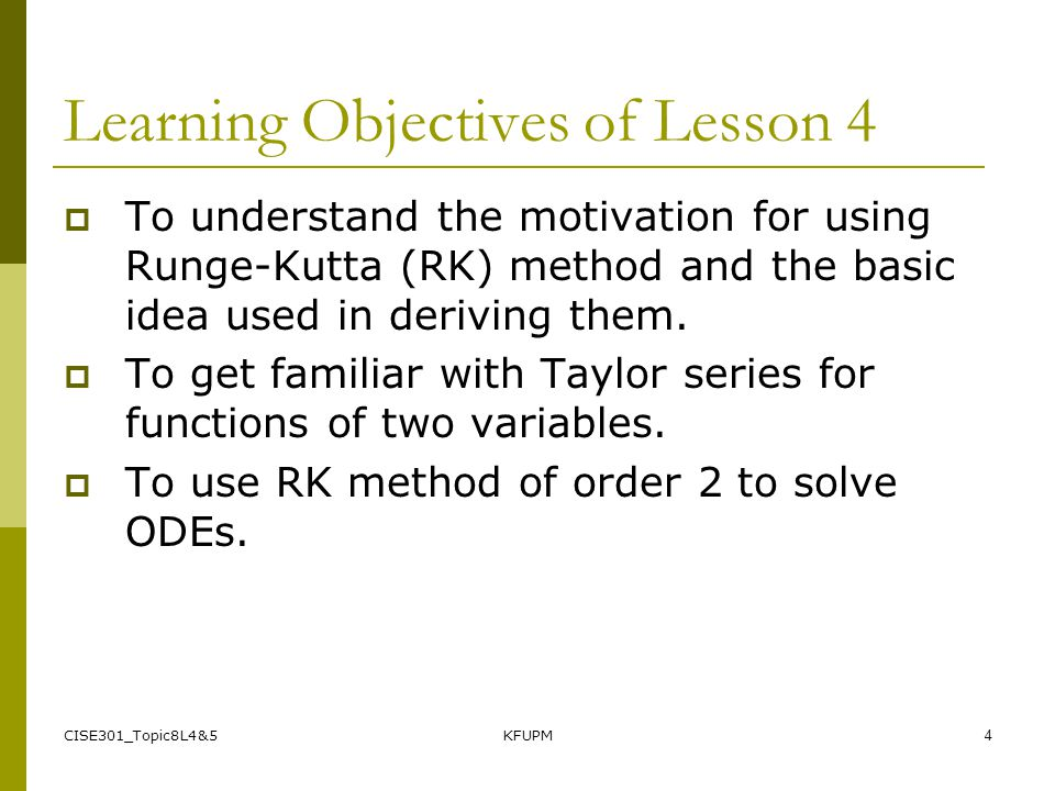 Learning Objectives of Lesson 4