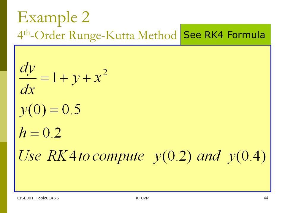 Example 2 4th-Order Runge-Kutta Method
