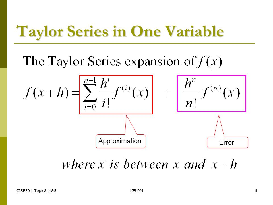 Taylor Series in One Variable