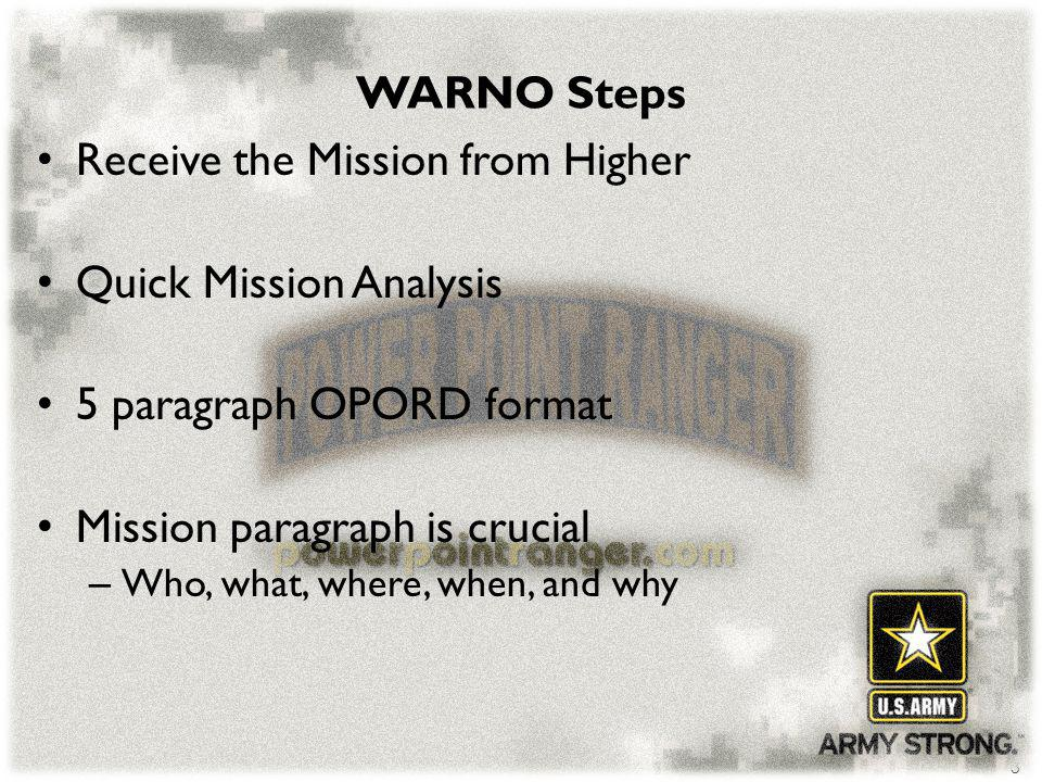 Receive the Mission from Higher Quick Mission Analysis
