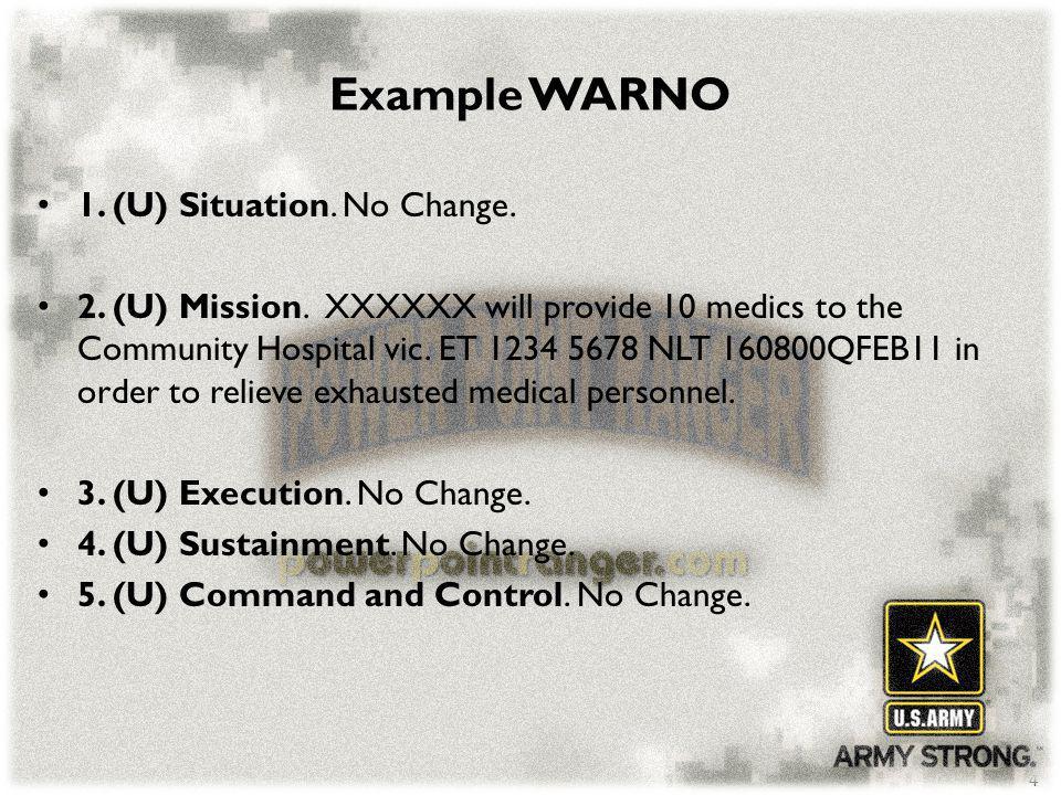Example WARNO 1. (U) Situation. No Change.
