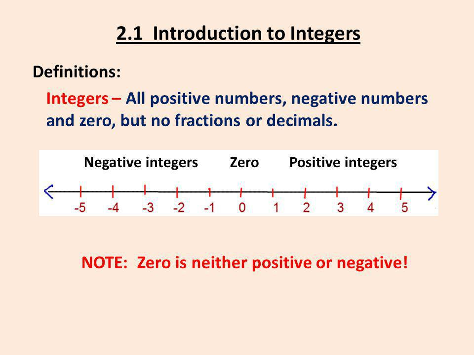 2.1 Introduction to Integers