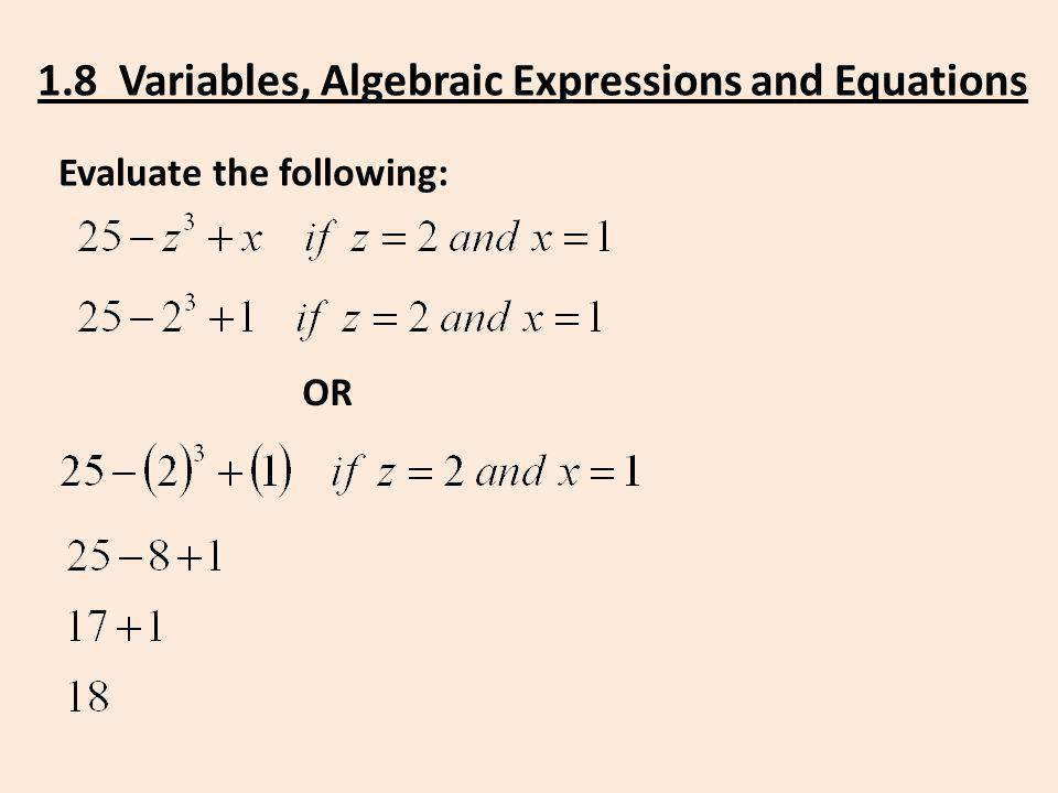 1.8 Variables, Algebraic Expressions and Equations