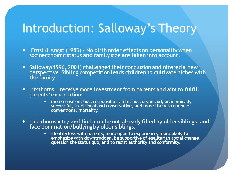 Introduction: Salloway's Theory