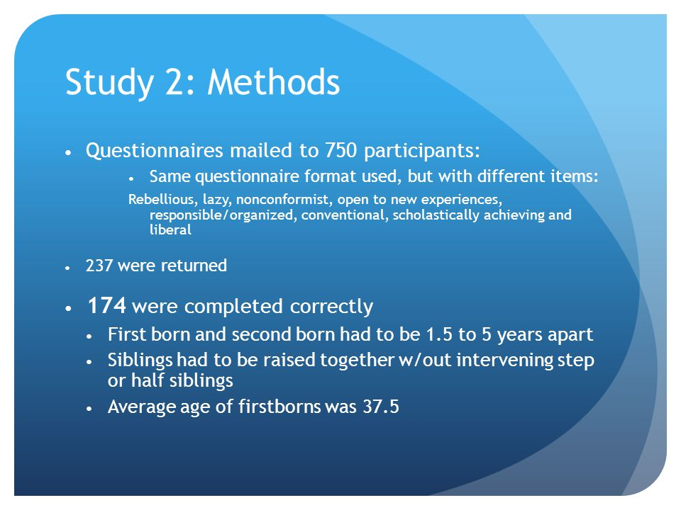 Study 2: Methods 174 were completed correctly
