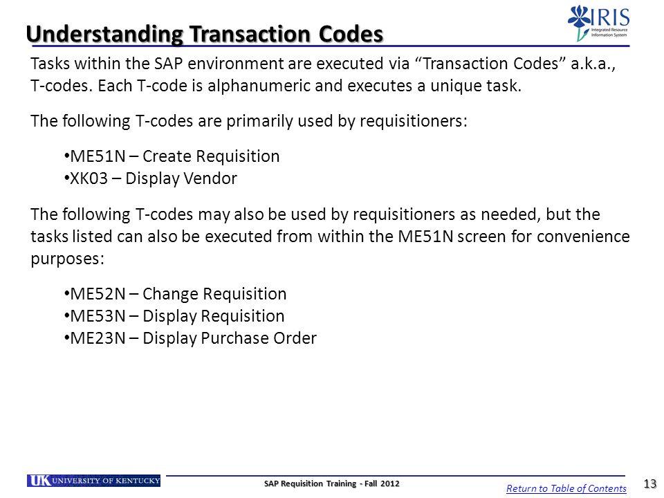 Understanding Transaction Codes