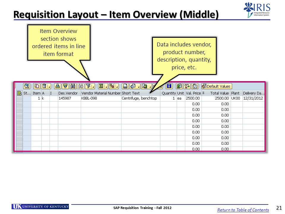 Requisition Layout – Item Overview (Middle)