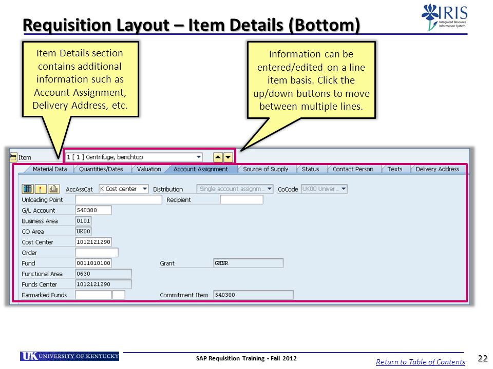 Requisition Layout – Item Details (Bottom)