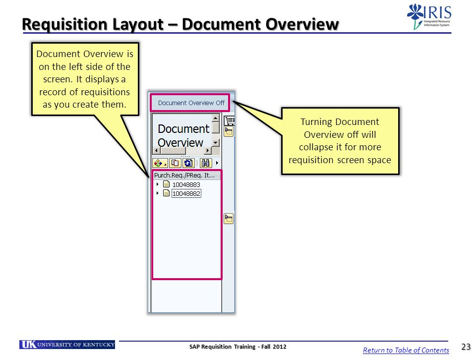 Requisition Layout – Document Overview