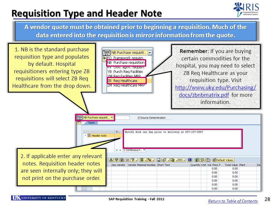 Requisition Type and Header Note