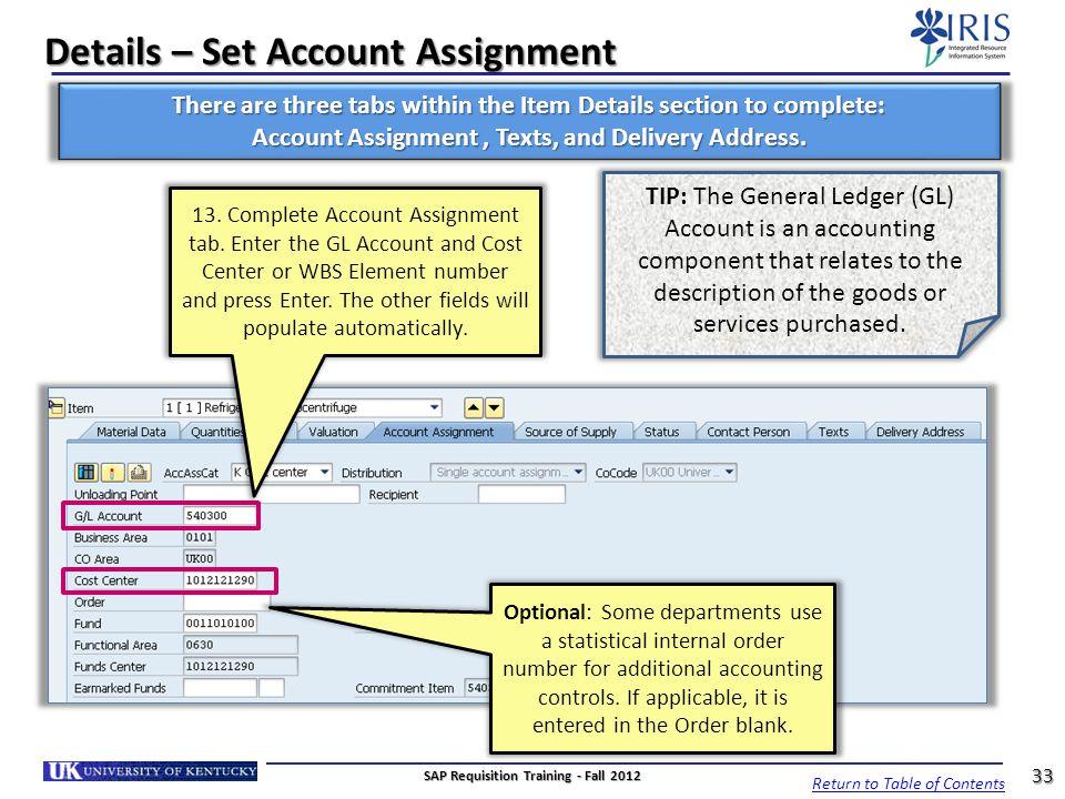 Details – Set Account Assignment