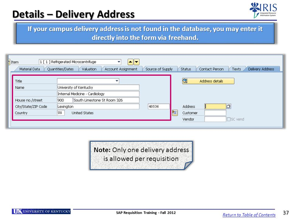Details – Delivery Address
