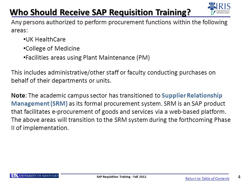 Who Should Receive SAP Requisition Training
