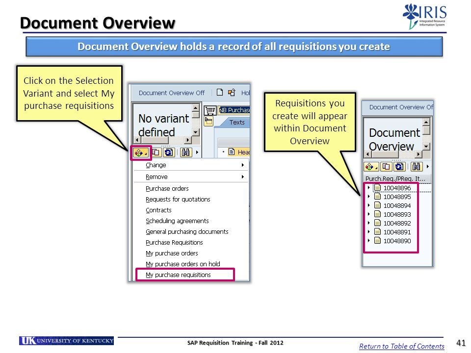 Document Overview Document Overview holds a record of all requisitions you create.