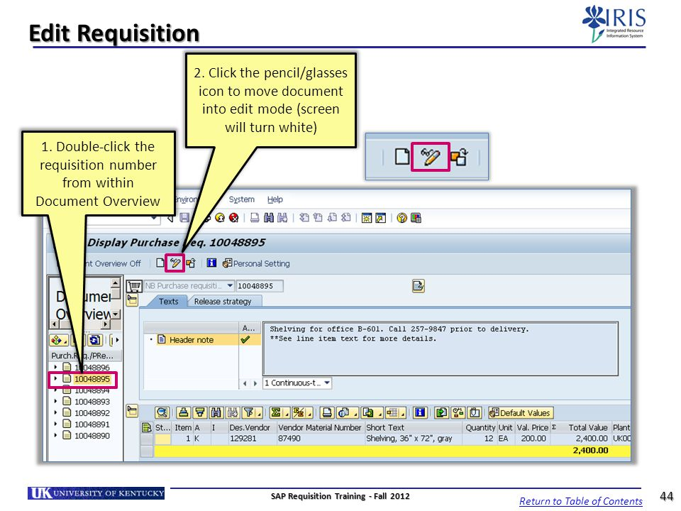 SAP Requisition Training - Fall 2012