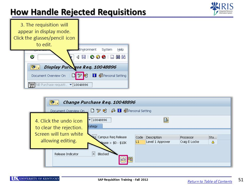 How Handle Rejected Requisitions