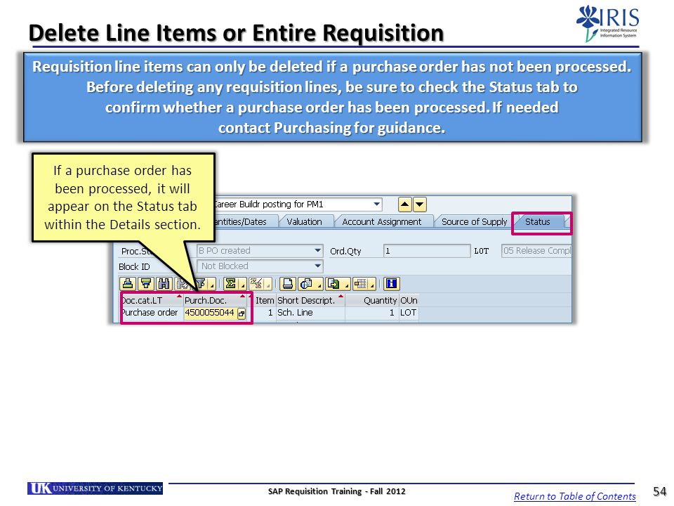 Delete Line Items or Entire Requisition