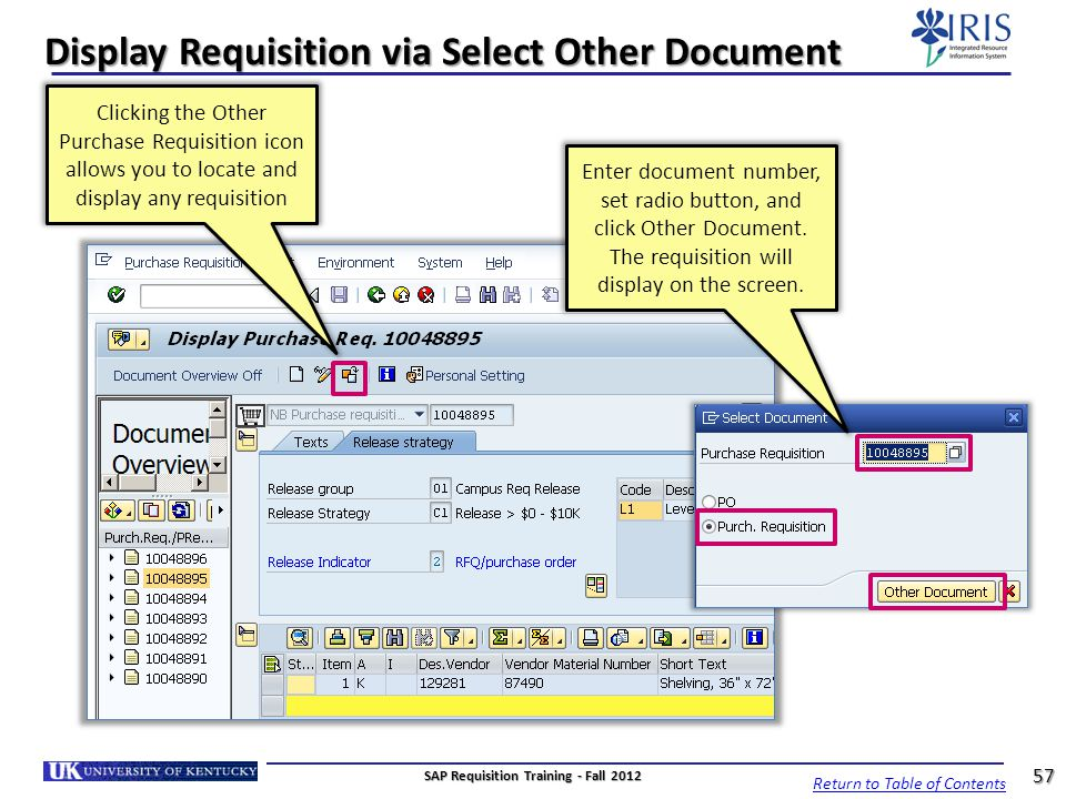 Display Requisition via Select Other Document