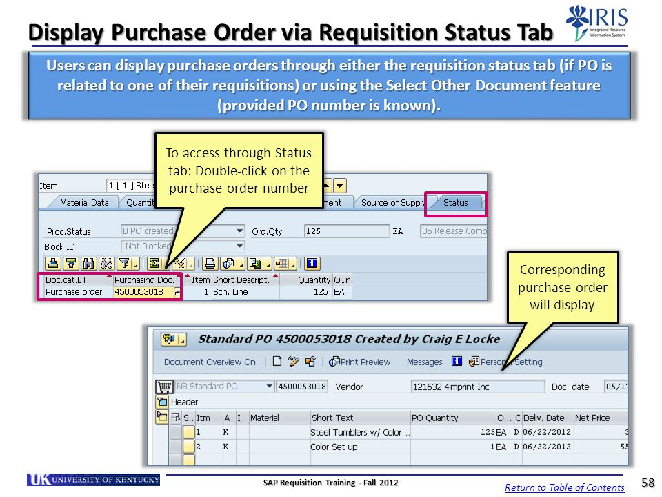 Display Purchase Order via Requisition Status Tab
