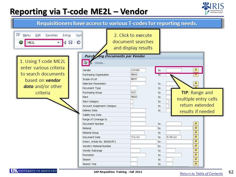 Reporting via T-code ME2L – Vendor
