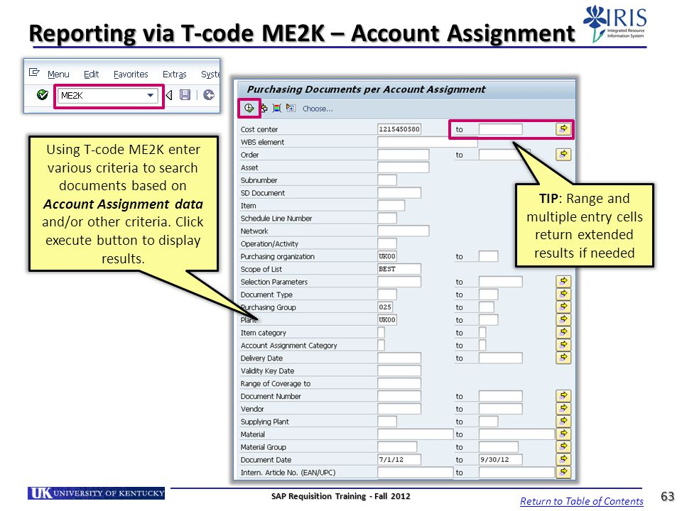 Reporting via T-code ME2K – Account Assignment