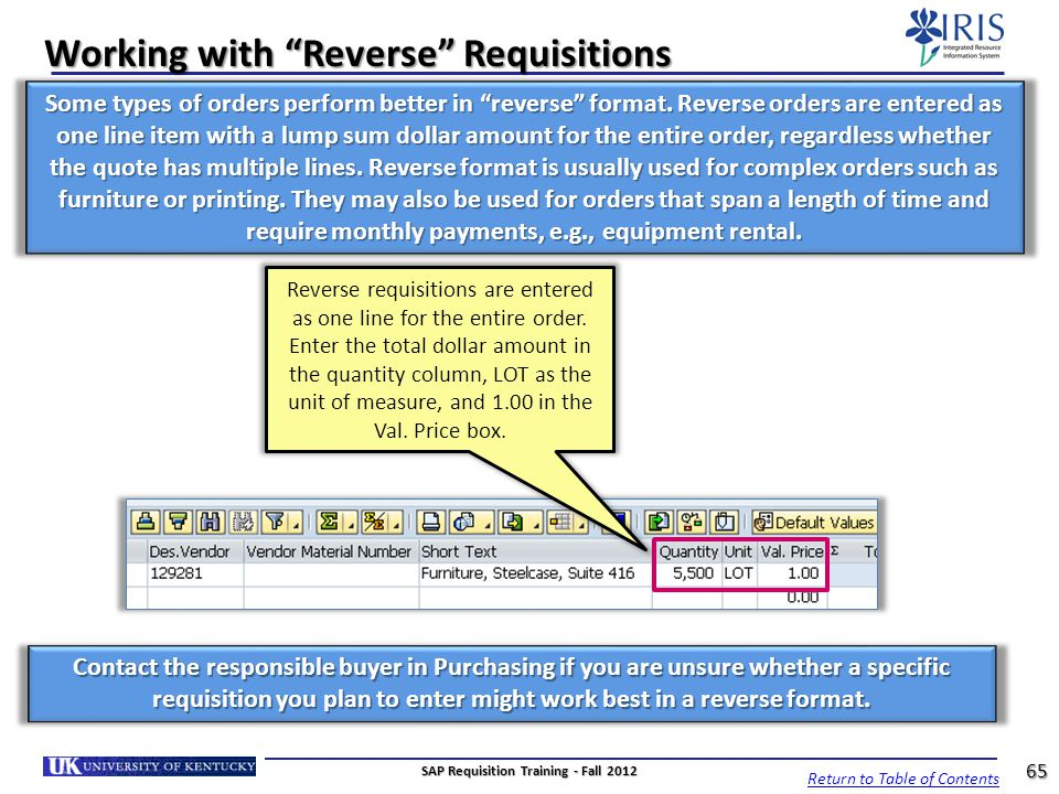 Working with Reverse Requisitions