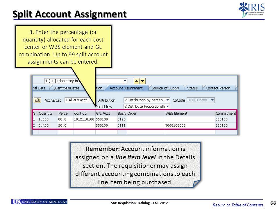 Split Account Assignment