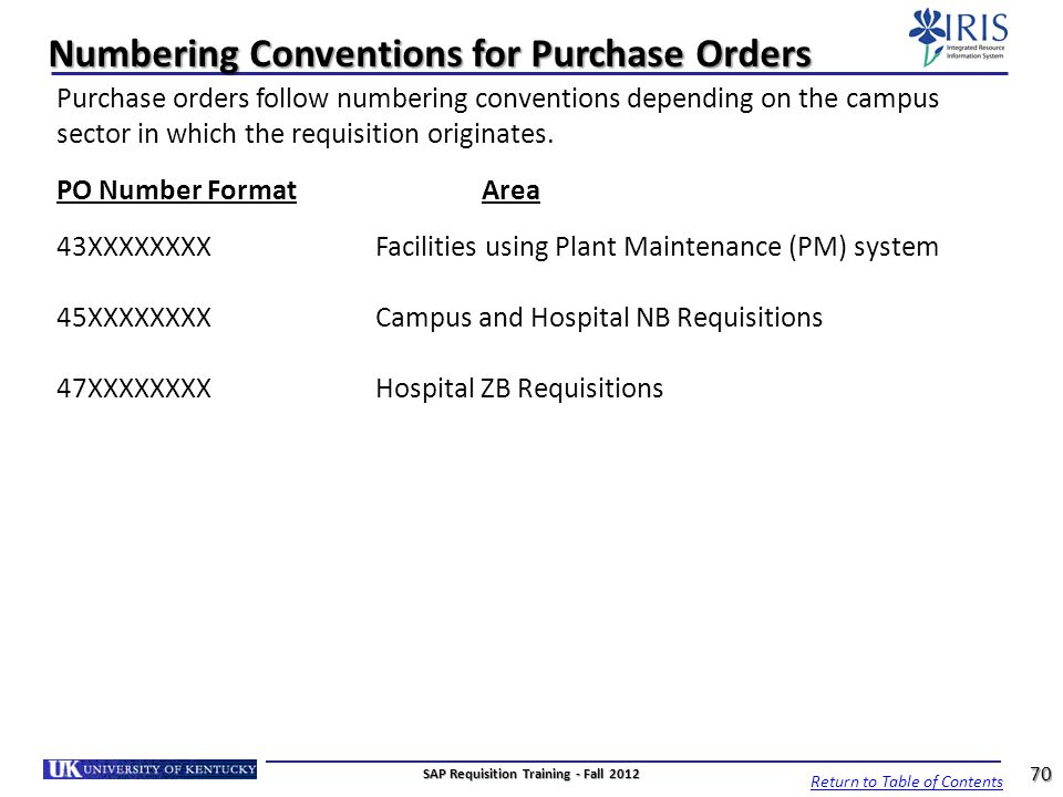 Numbering Conventions for Purchase Orders