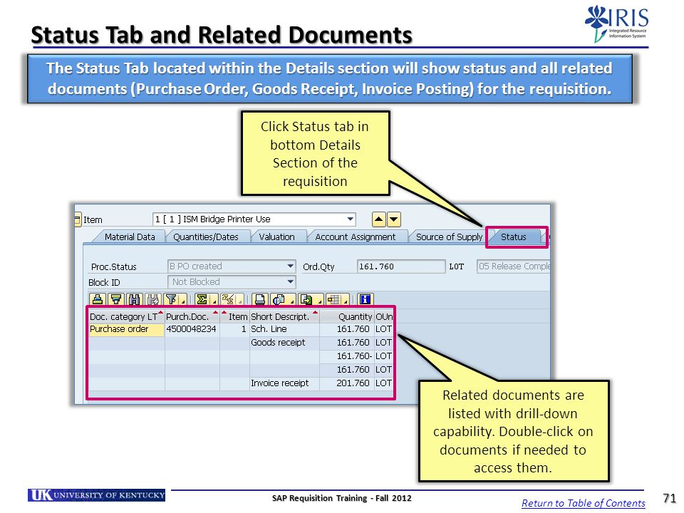 Status Tab and Related Documents