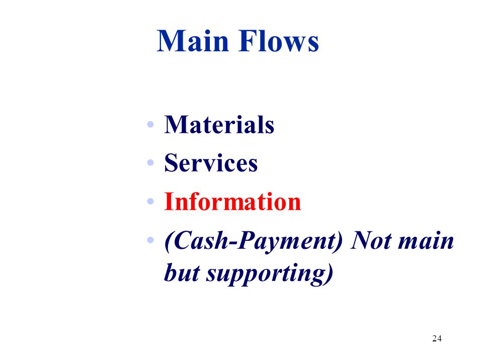 Main Flows Materials Services Information
