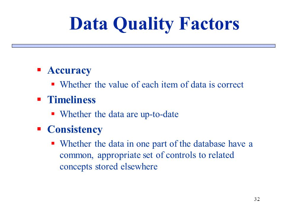 Data Quality Factors Accuracy Timeliness Consistency