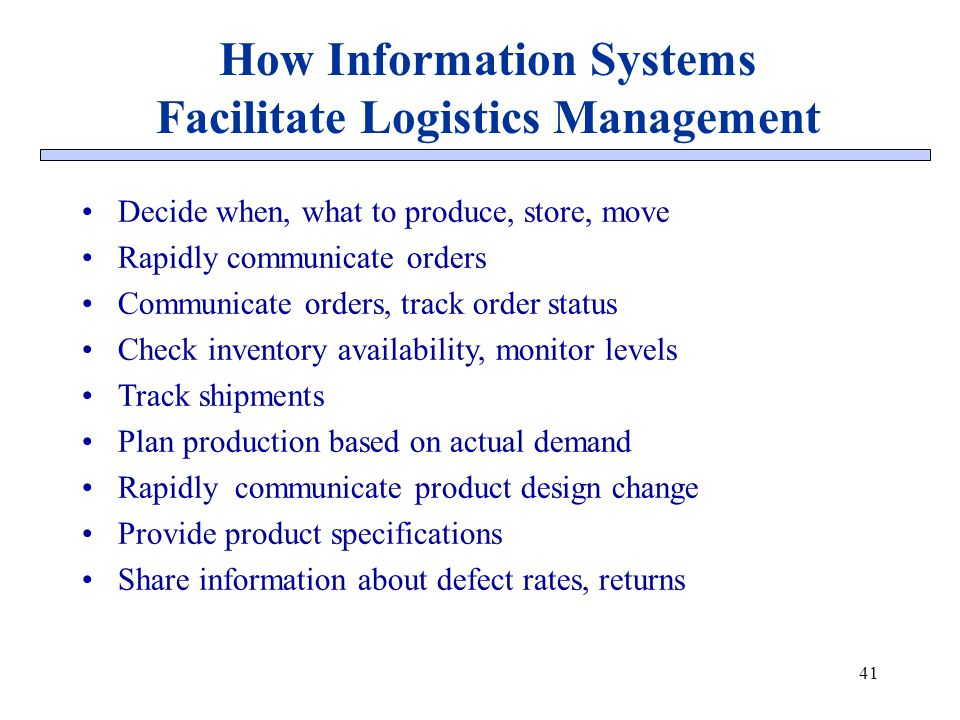 How Information Systems Facilitate Logistics Management
