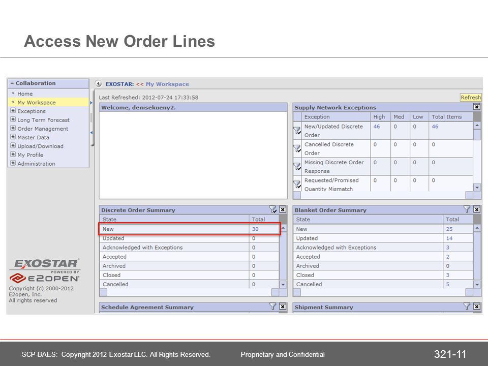 Accessing New Order Lines