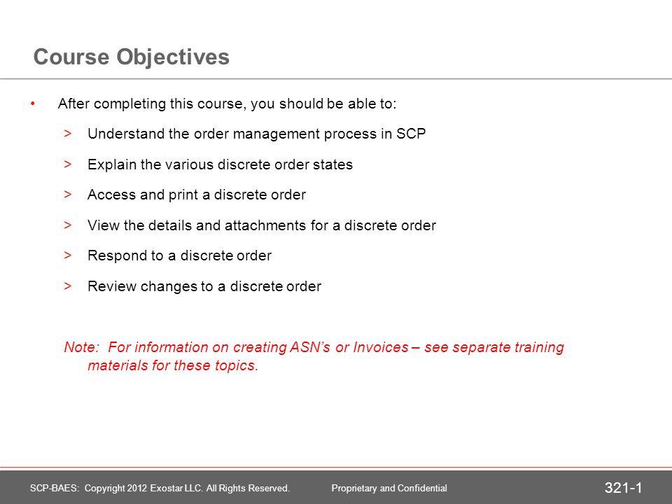 Order Management through SCP