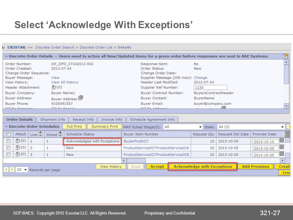 Acknowledge With Exceptions – Split Quantity (Add Promise)