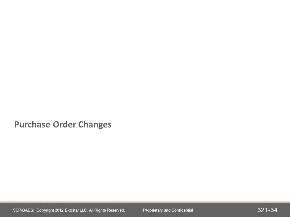 Purchase Order Changes
