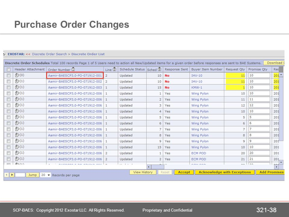 Purchase Order Changes - Highlighting