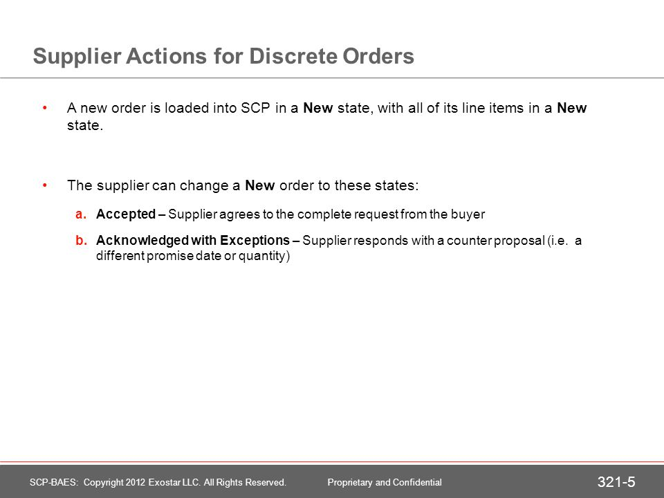 Buyer/System Actions for Discrete Orders