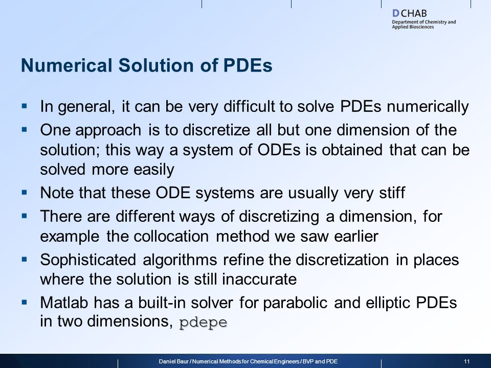 Numerical Solution of PDEs