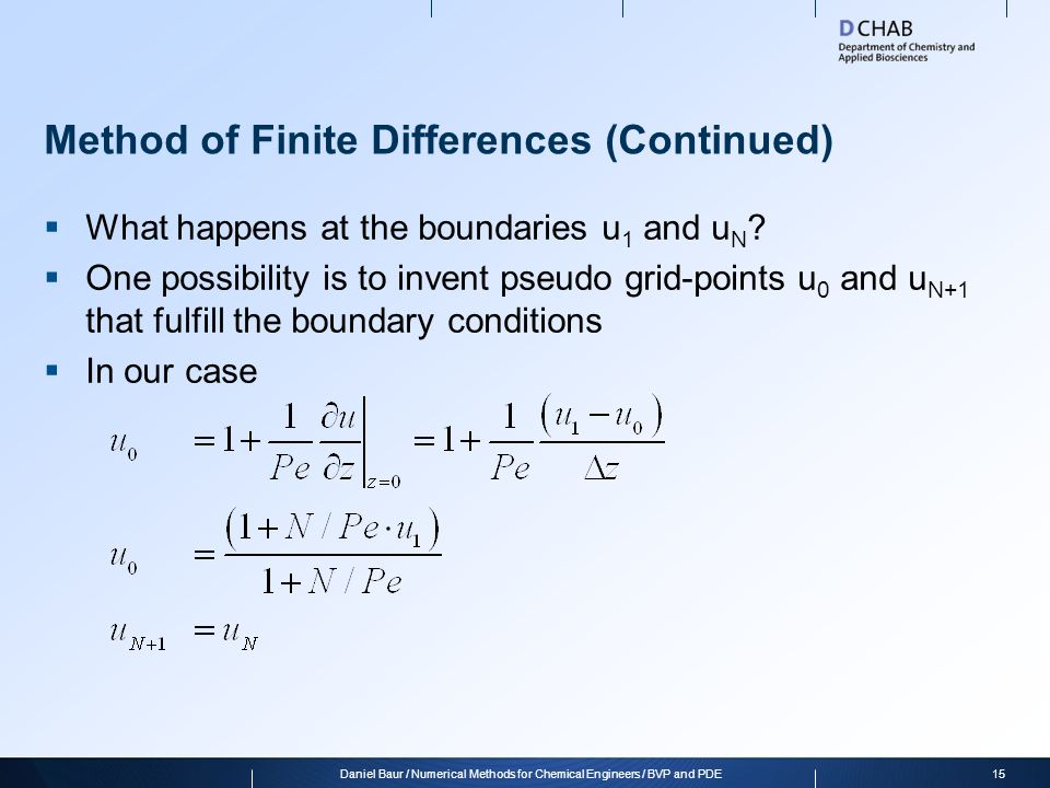 Method of Finite Differences (Continued)
