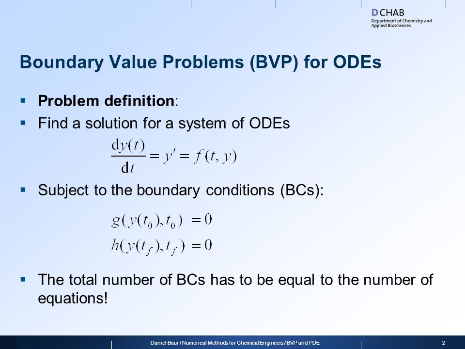 Boundary Value Problems (BVP) for ODEs