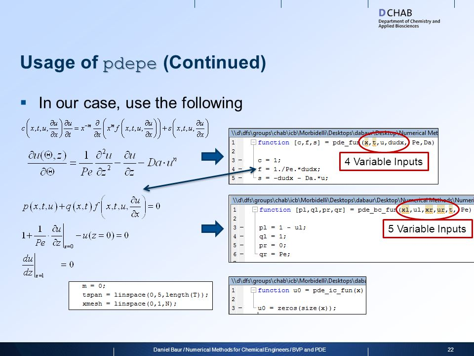 Usage of pdepe (Continued)