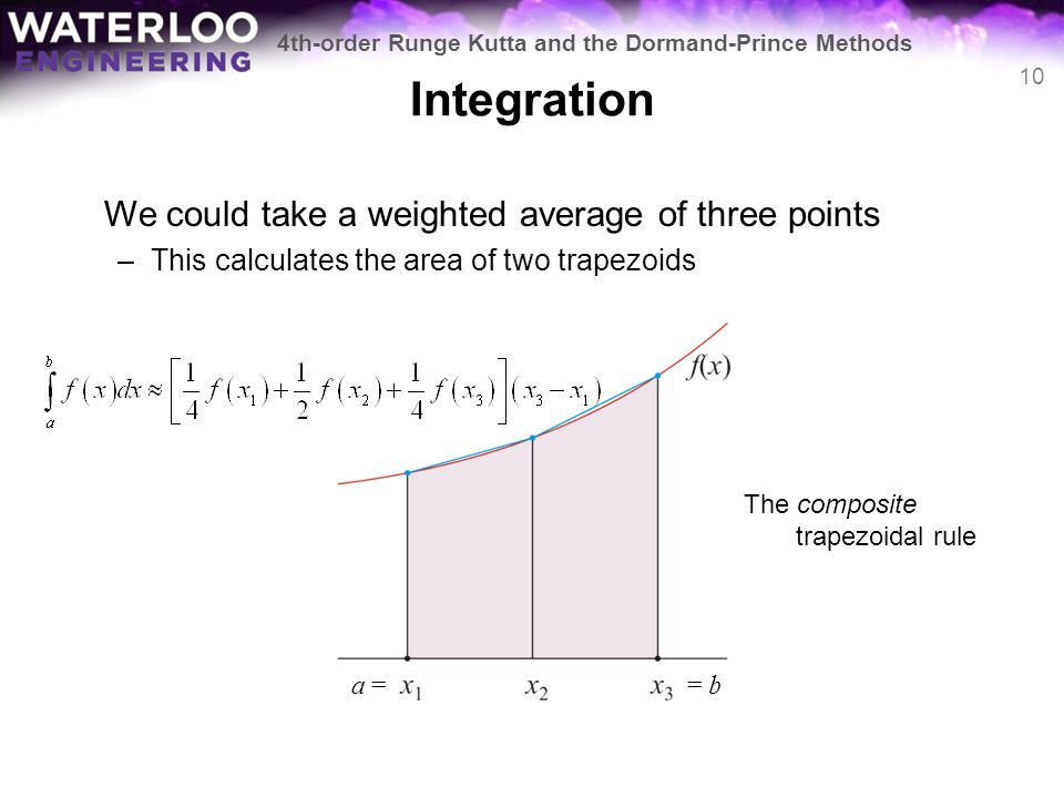 Integration We could take a weighted average of three points